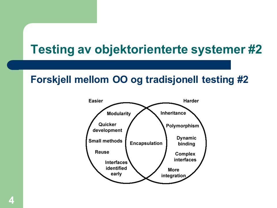 4 Testing av objektorienterte systemer #2 Forskjell mellom OO og tradisjonell testing #2