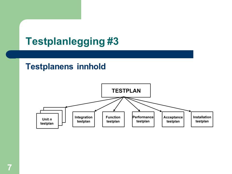 7 Testplanlegging #3 Testplanens innhold