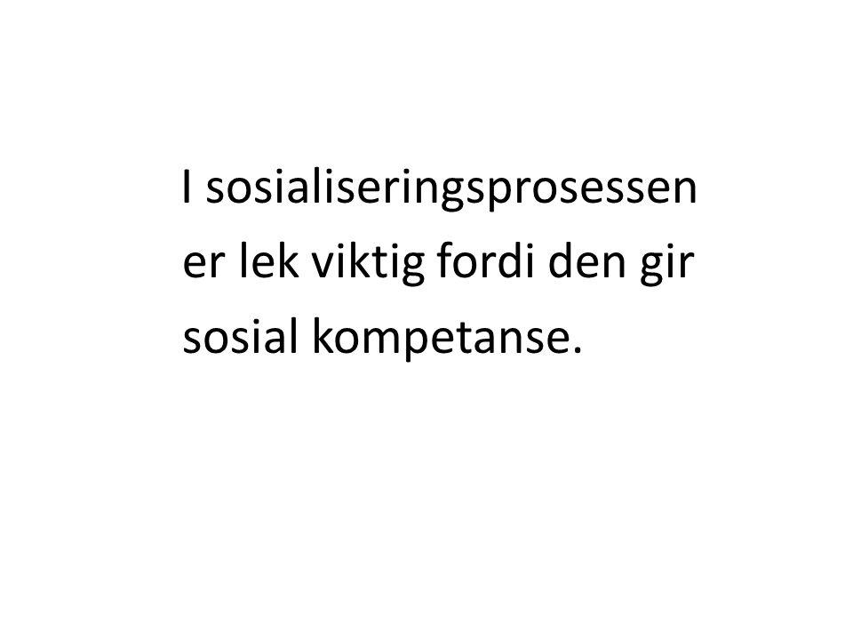 I sosialiseringsprosessen er lek viktig fordi den gir sosial kompetanse.