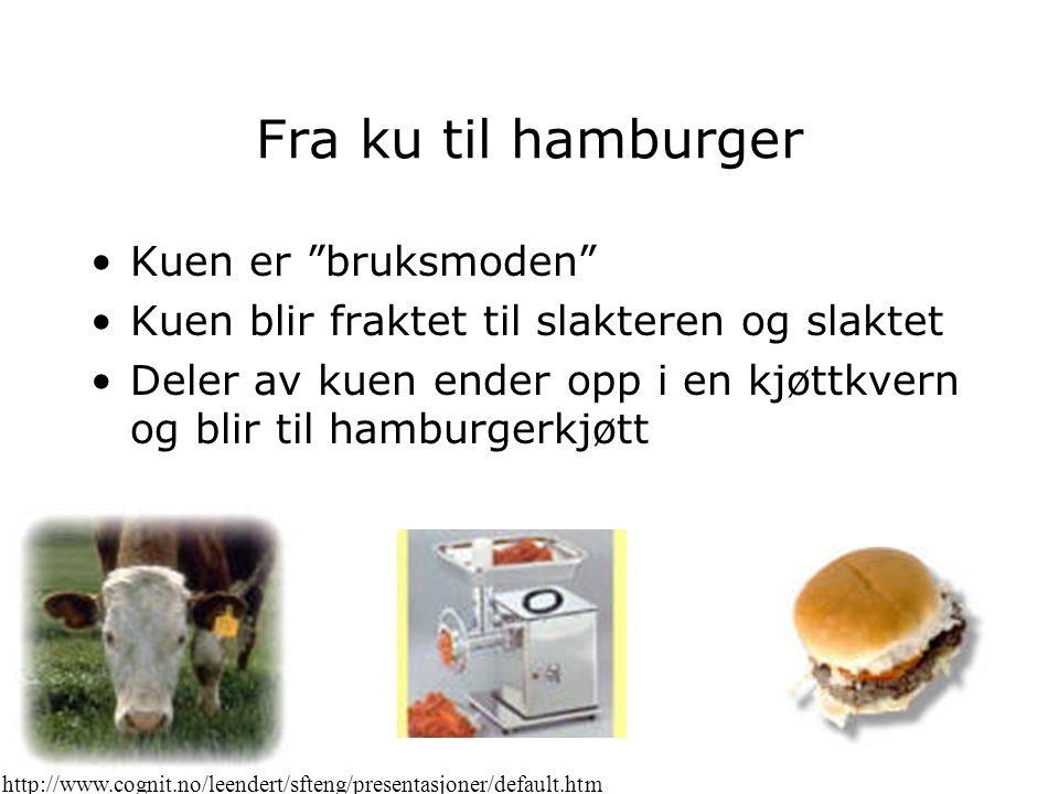 Fra hamburger til Happy Meal Hamburgeren blir transportert fra slakteren til McDonalds Hamburgeren blir brukt som del av en Happy Meal, og pent plassert ved siden av brus, pommes frittes og et leketøy http://www.cognit.no/leendert/sfteng/presentasjoner/default.htm