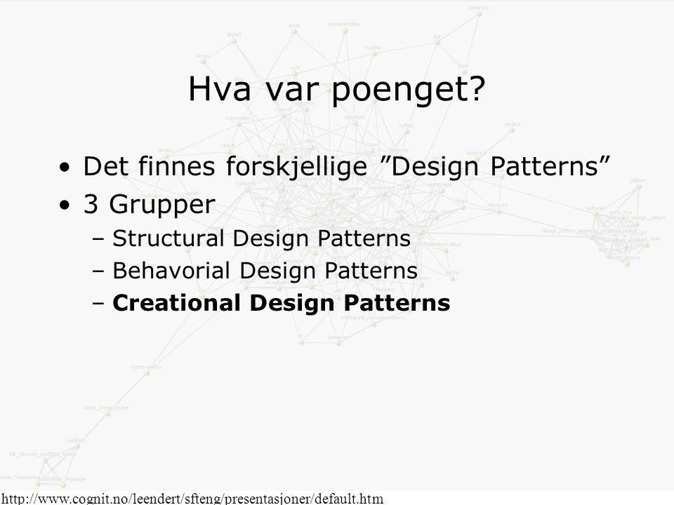 Spørsmål? http://www.cognit.no/leendert/sfteng/presentasjoner/default.htm