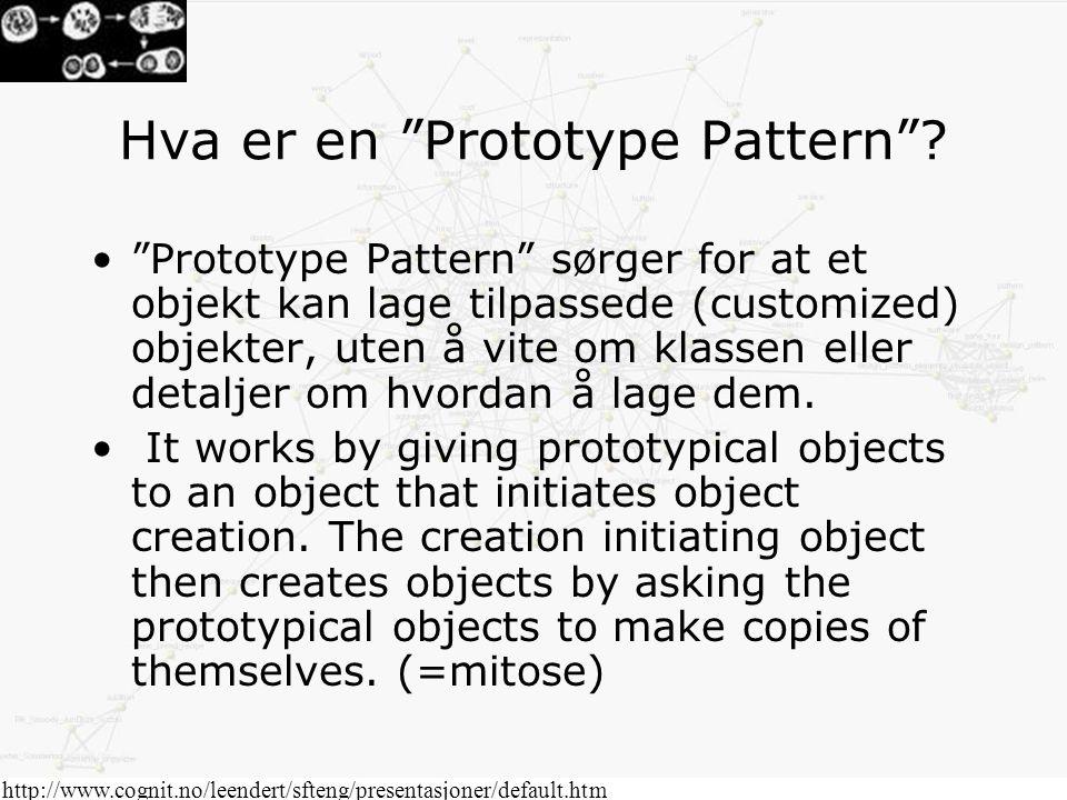 """http://www.cognit.no/leendert/sfteng/presentasjoner/default.htm Hva er en """"Prototype Pattern""""? """"Prototype Pattern"""" sørger for at et objekt kan lage ti"""