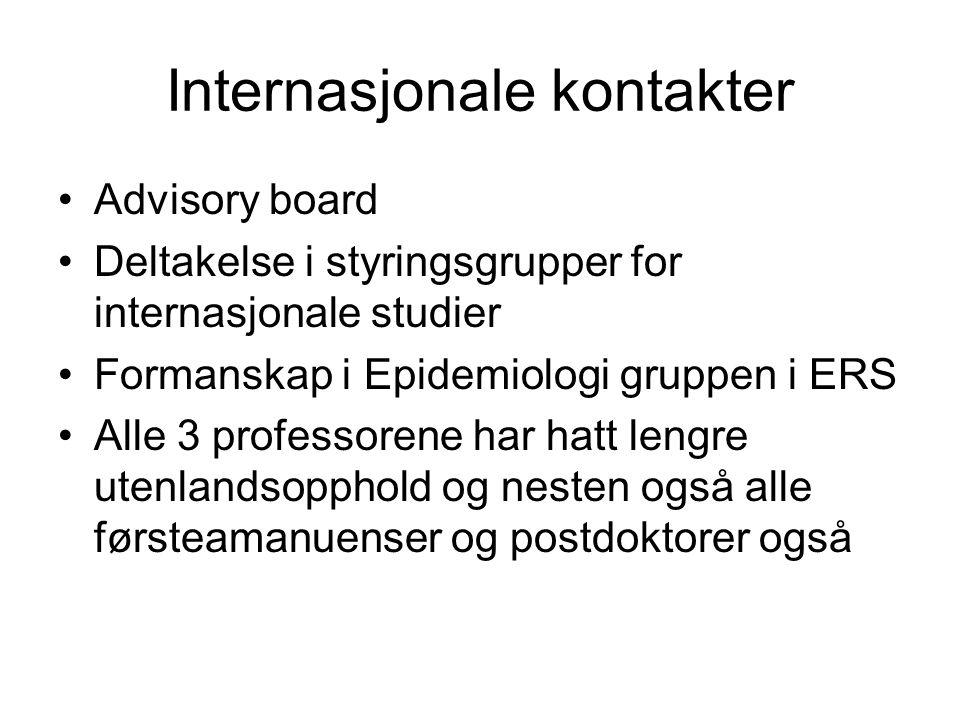 Internasjonale kontakter Advisory board Deltakelse i styringsgrupper for internasjonale studier Formanskap i Epidemiologi gruppen i ERS Alle 3 professorene har hatt lengre utenlandsopphold og nesten også alle førsteamanuenser og postdoktorer også