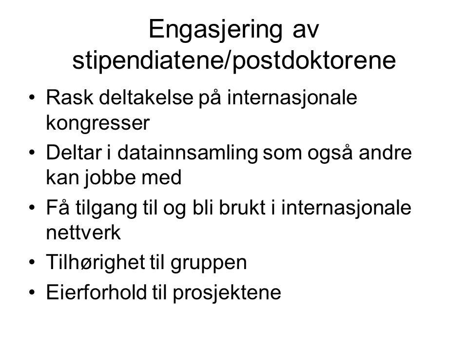 Engasjering av stipendiatene/postdoktorene Rask deltakelse på internasjonale kongresser Deltar i datainnsamling som også andre kan jobbe med Få tilgan