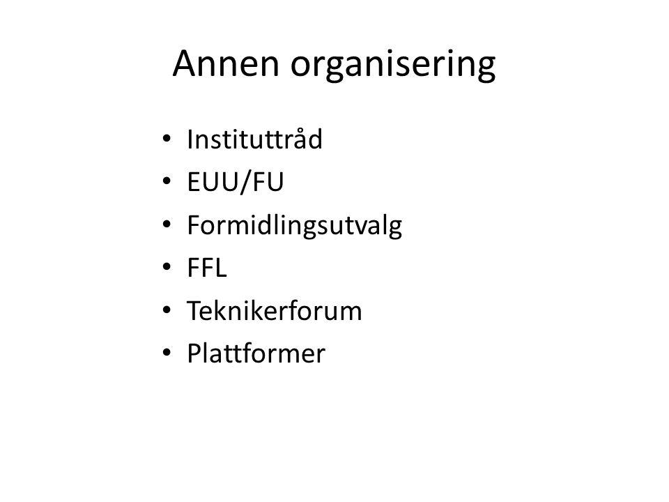 Annen organisering Instituttråd EUU/FU Formidlingsutvalg FFL Teknikerforum Plattformer
