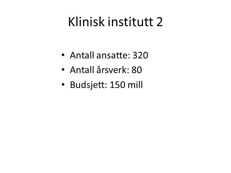 Klinisk institutt 2 Antall ansatte: 320 Antall årsverk: 80 Budsjett: 150 mill