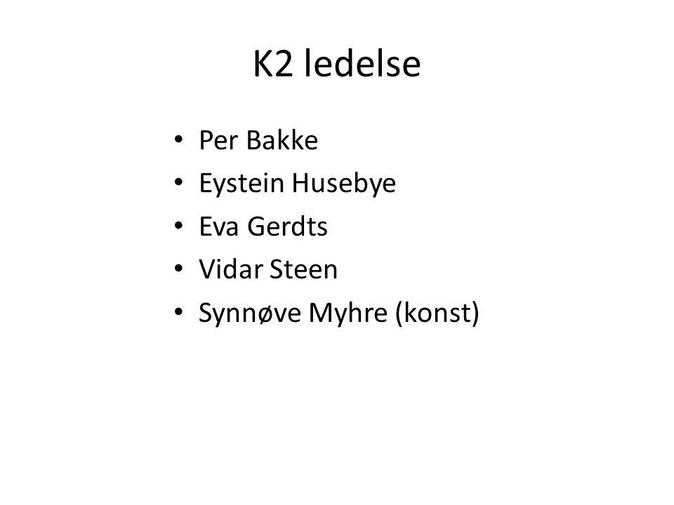 K2 ledelse Per Bakke Eystein Husebye Eva Gerdts Vidar Steen Synnøve Myhre (konst)