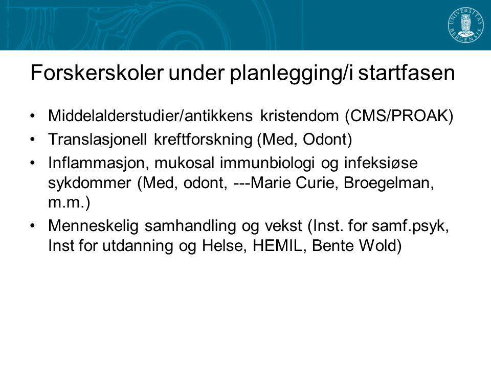Forskerskoler under planlegging/i startfasen Middelalderstudier/antikkens kristendom (CMS/PROAK) Translasjonell kreftforskning (Med, Odont) Inflammasj
