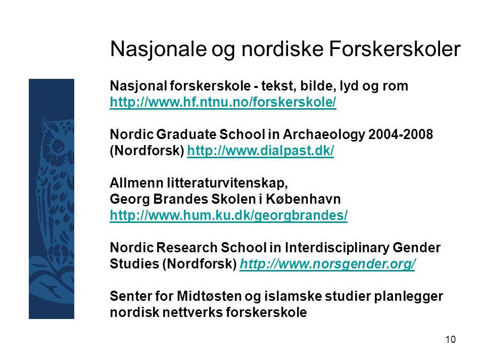10 Nasjonale og nordiske Forskerskoler Nasjonal forskerskole - tekst, bilde, lyd og rom http://www.hf.ntnu.no/forskerskole/ http://www.hf.ntnu.no/forskerskole/ Nordic Graduate School in Archaeology 2004-2008 (Nordforsk) http://www.dialpast.dk/http://www.dialpast.dk/ Allmenn litteraturvitenskap, Georg Brandes Skolen i København http://www.hum.ku.dk/georgbrandes/ http://www.hum.ku.dk/georgbrandes/ Nordic Research School in Interdisciplinary Gender Studies (Nordforsk) http://www.norsgender.org/http://www.norsgender.org/ Senter for Midtøsten og islamske studier planlegger nordisk nettverks forskerskole