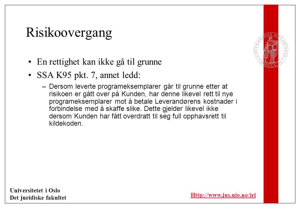 Universitetet i Oslo Det juridiske fakultet Http://www.jus.uio.no/iri Leveringstidspunkt Sentralt skjæringspunkt –Forsinkelse –Betaling –Reklamasjonsperioder Defineres ofte ut fra godkjenning av leveransen –Eks.