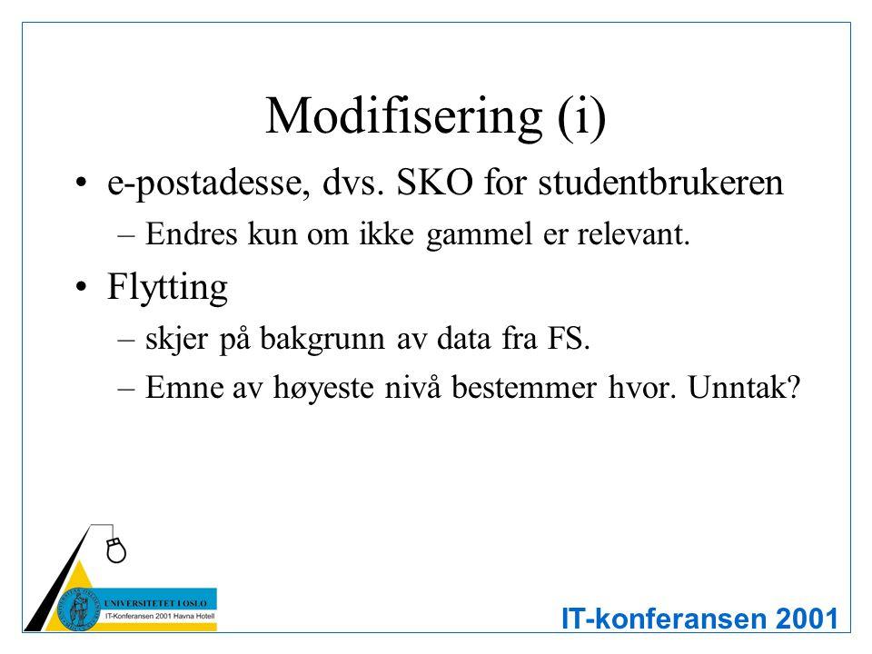 IT-konferansen 2001 Modifisering (i) e-postadesse, dvs. SKO for studentbrukeren –Endres kun om ikke gammel er relevant. Flytting –skjer på bakgrunn av
