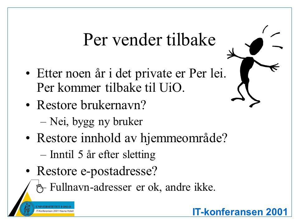 IT-konferansen 2001 Per vender tilbake Etter noen år i det private er Per lei. Per kommer tilbake til UiO. Restore brukernavn? –Nei, bygg ny bruker Re