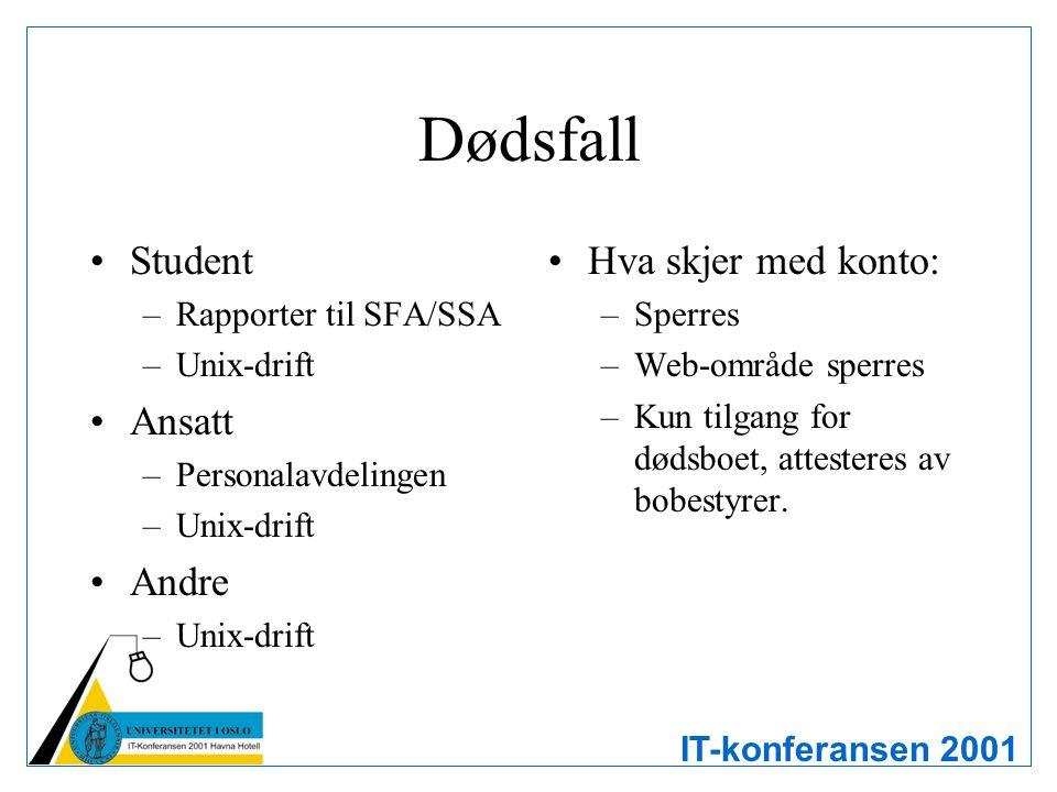 IT-konferansen 2001 Dødsfall Student –Rapporter til SFA/SSA –Unix-drift Ansatt –Personalavdelingen –Unix-drift Andre –Unix-drift Hva skjer med konto: