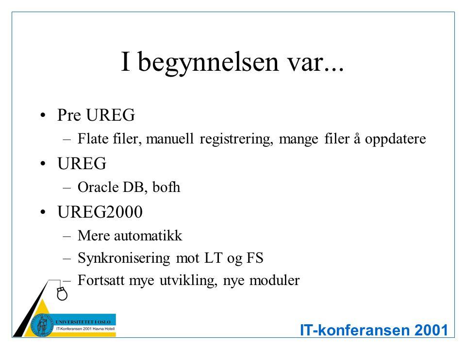 IT-konferansen 2001 I begynnelsen var... Pre UREG –Flate filer, manuell registrering, mange filer å oppdatere UREG –Oracle DB, bofh UREG2000 –Mere aut