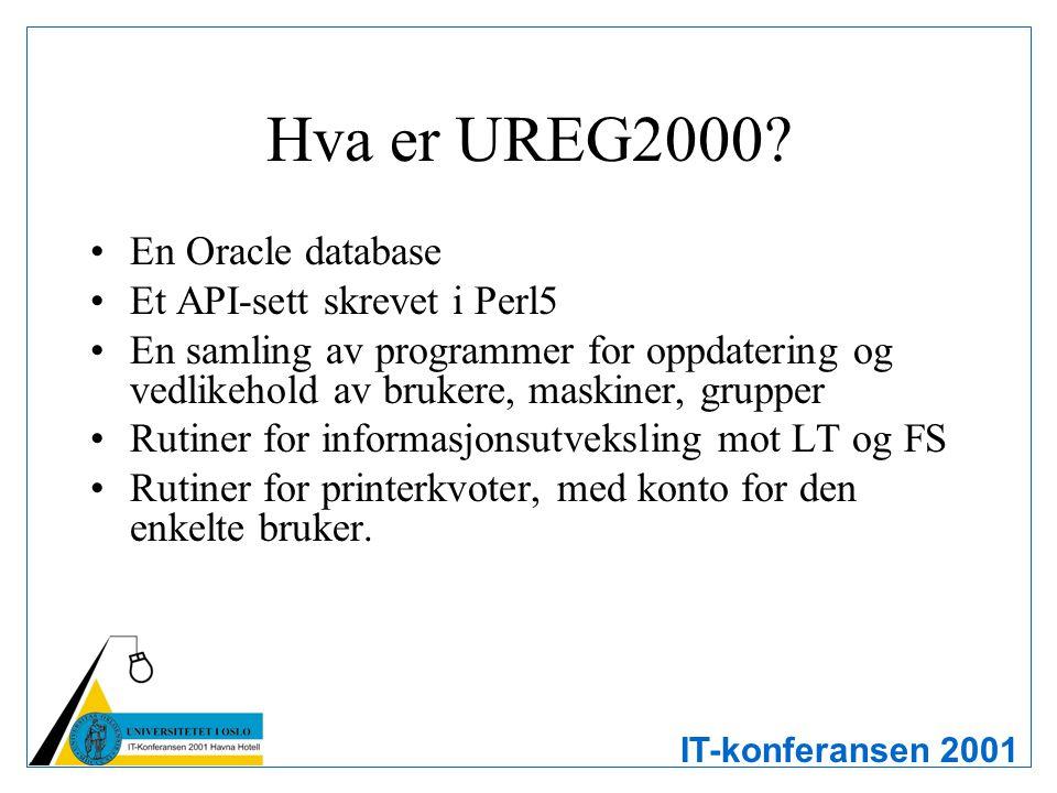 IT-konferansen 2001 Hva gjør UREG2000 Administrerer brukere –bygger, endrer og sletter brukere –autentisering OS – unix, NT, W2K, osv Systemer – Lotus Notes, ClassFronter, Oracle, osv –rettigheter –printerkvoter Administrerer grupper Skal administrere meta-info om maskiner