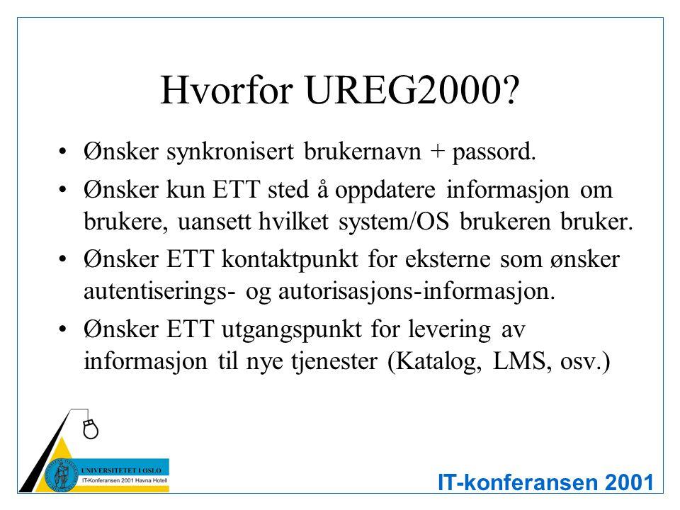 IT-konferansen 2001 Hvorfor UREG2000? Ønsker synkronisert brukernavn + passord. Ønsker kun ETT sted å oppdatere informasjon om brukere, uansett hvilke