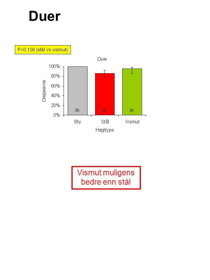 Duer Vismut muligens bedre enn stål P=0,106 (stål vs vismut)