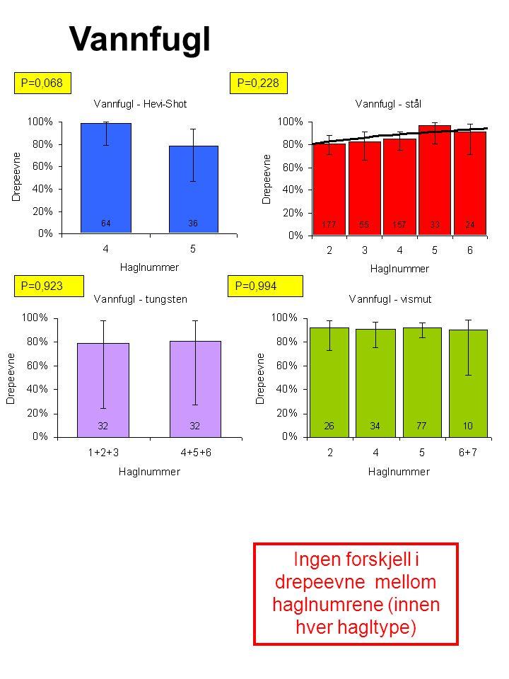 Vannfugl P=0,068P=0,228 (konv ikke) P=0,923 Ingen forskjell i drepeevne mellom haglnumrene (innen hver hagltype) P=0,994