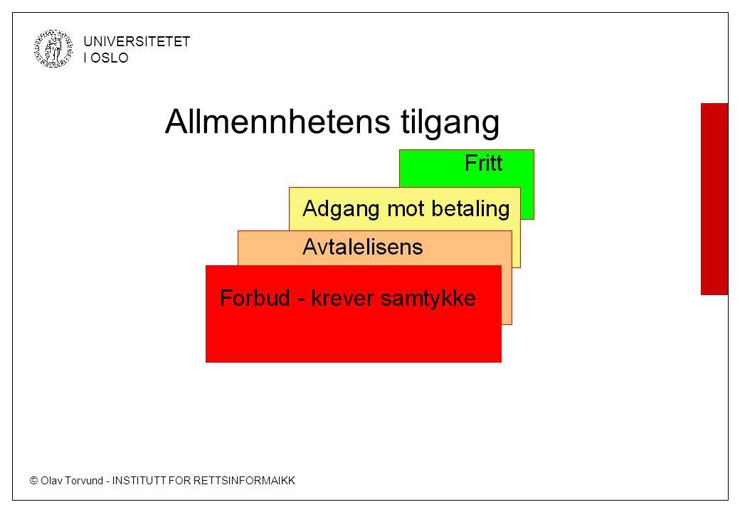 © Olav Torvund - INSTITUTT FOR RETTSINFORMAIKK UNIVERSITETET I OSLO Allmennhetens tilgang