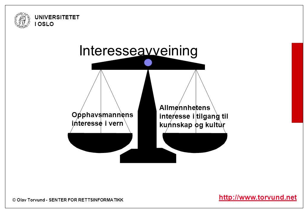 © Olav Torvund - SENTER FOR RETTSINFORMATIKK UNIVERSITETET I OSLO http://www.torvund.net Interesseavveining Opphavsmannens interesse i vern Allmennhet