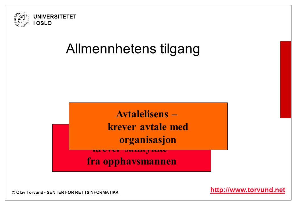 © Olav Torvund - SENTER FOR RETTSINFORMATIKK UNIVERSITETET I OSLO http://www.torvund.net Allmennhetens tilgang Enerett – krever samtykke fra opphavsma