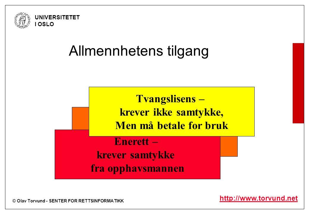 © Olav Torvund - SENTER FOR RETTSINFORMATIKK UNIVERSITETET I OSLO http://www.torvund.net Avtalelisens – krever avtale med organisasjon Allmennhetens t