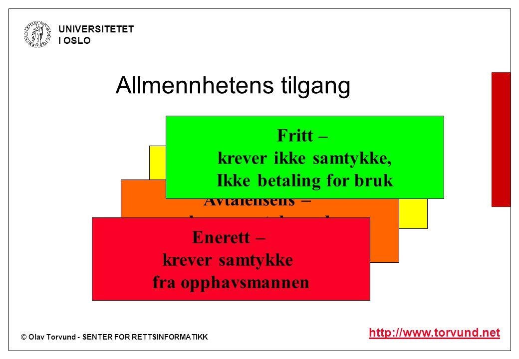 © Olav Torvund - SENTER FOR RETTSINFORMATIKK UNIVERSITETET I OSLO http://www.torvund.net Tvangslisens – krever ikke samtykke, Men må betale for bruk A