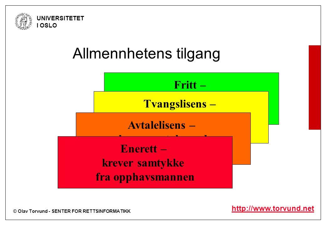 © Olav Torvund - SENTER FOR RETTSINFORMATIKK UNIVERSITETET I OSLO http://www.torvund.net Fritt – krever ikke samtykke, Ikke betaling for bruk Tvangsli