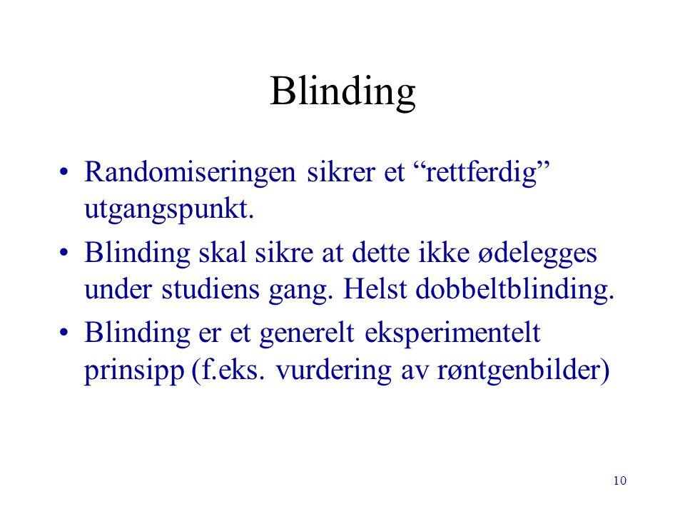 """10 Blinding Randomiseringen sikrer et """"rettferdig"""" utgangspunkt. Blinding skal sikre at dette ikke ødelegges under studiens gang. Helst dobbeltblindin"""