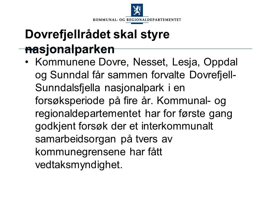 Dovrefjellrådet skal styre nasjonalparken Kommunene Dovre, Nesset, Lesja, Oppdal og Sunndal får sammen forvalte Dovrefjell- Sunndalsfjella nasjonalpar