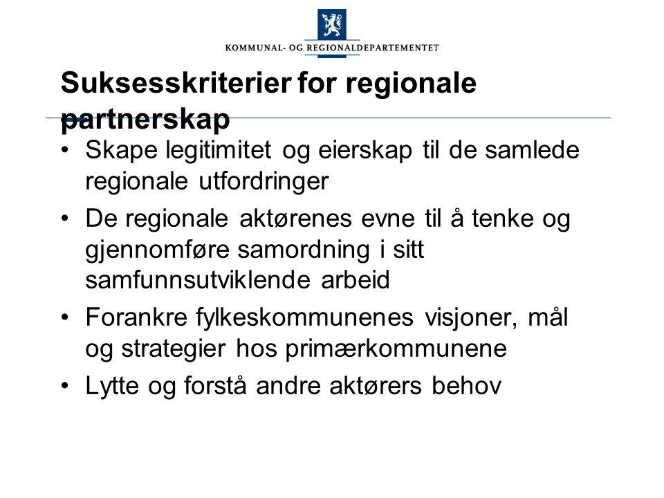 Suksesskriterier for regionale partnerskap Skape legitimitet og eierskap til de samlede regionale utfordringer De regionale aktørenes evne til å tenke