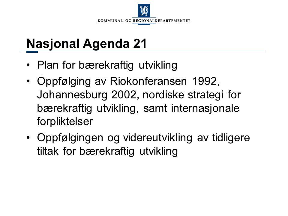 Nasjonal Agenda 21 Plan for bærekraftig utvikling Oppfølging av Riokonferansen 1992, Johannesburg 2002, nordiske strategi for bærekraftig utvikling, s