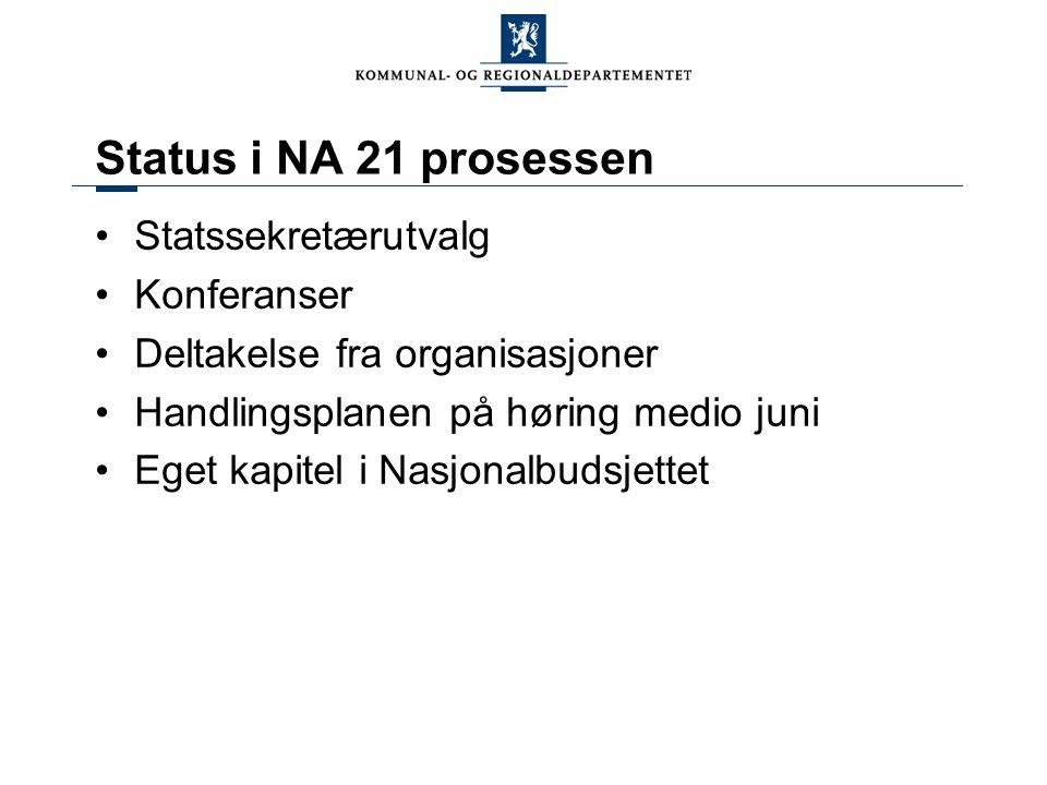 Status i NA 21 prosessen Statssekretærutvalg Konferanser Deltakelse fra organisasjoner Handlingsplanen på høring medio juni Eget kapitel i Nasjonalbud