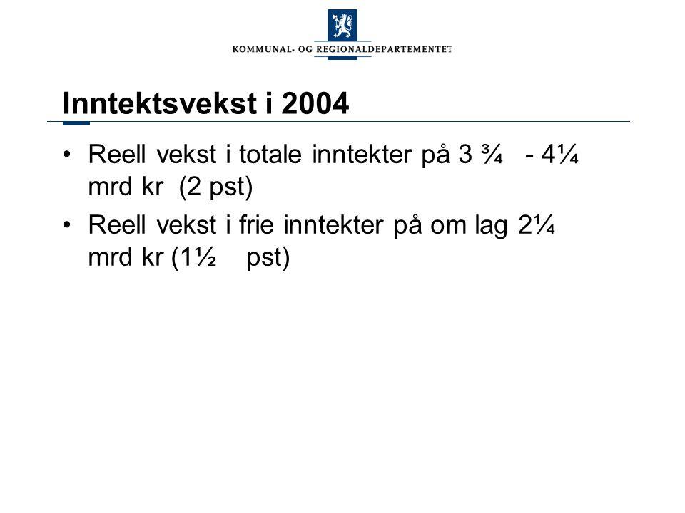 Inntektsvekst i 2004 Reell vekst i totale inntekter på 3 ¾ - 4¼ mrd kr (2 pst) Reell vekst i frie inntekter på om lag 2¼ mrd kr (1½ pst)