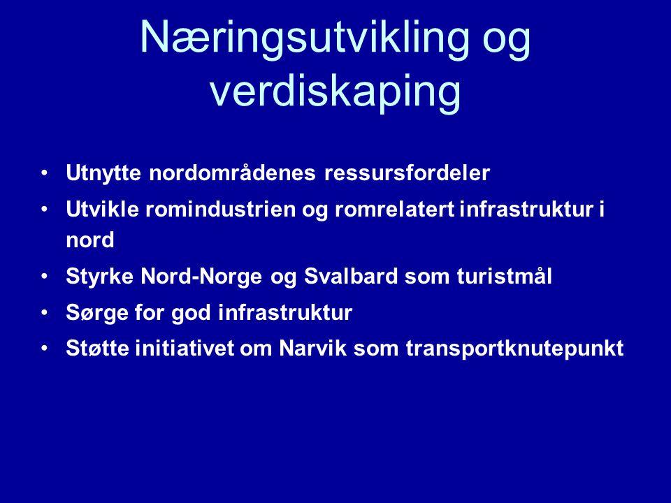 Næringsutvikling og verdiskaping Utnytte nordområdenes ressursfordeler Utvikle romindustrien og romrelatert infrastruktur i nord Styrke Nord-Norge og Svalbard som turistmål Sørge for god infrastruktur Støtte initiativet om Narvik som transportknutepunkt