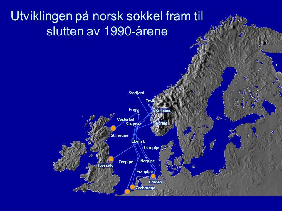 Franpipe Europipe I Zeebrugge Zeepipe I St Fergus Vesterled Troll Frigg Statfjord Norpipe Emden Teesside Ekofisk Kårstø Sleipner Kollsnes Utviklingen på norsk sokkel fram til slutten av 1990-årene