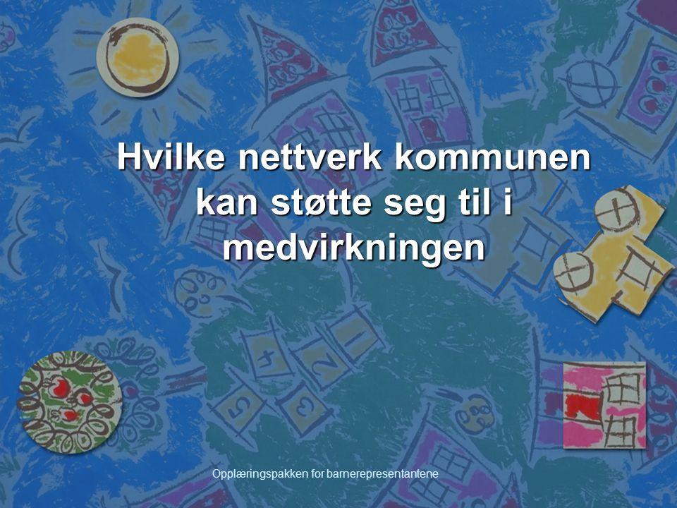Opplæringspakken for barnerepresentantene Hvilke nettverk kommunen kan støtte seg til i medvirkningen