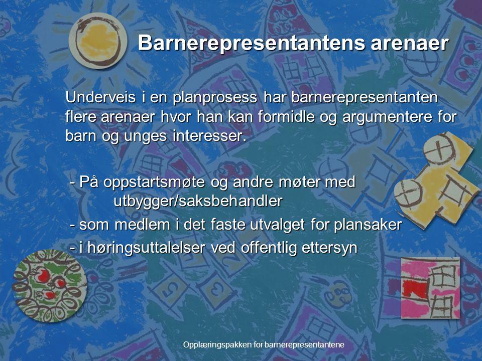 Opplæringspakken for barnerepresentantene Barnerepresentantens arenaer Underveis i en planprosess har barnerepresentanten flere arenaer hvor han kan f
