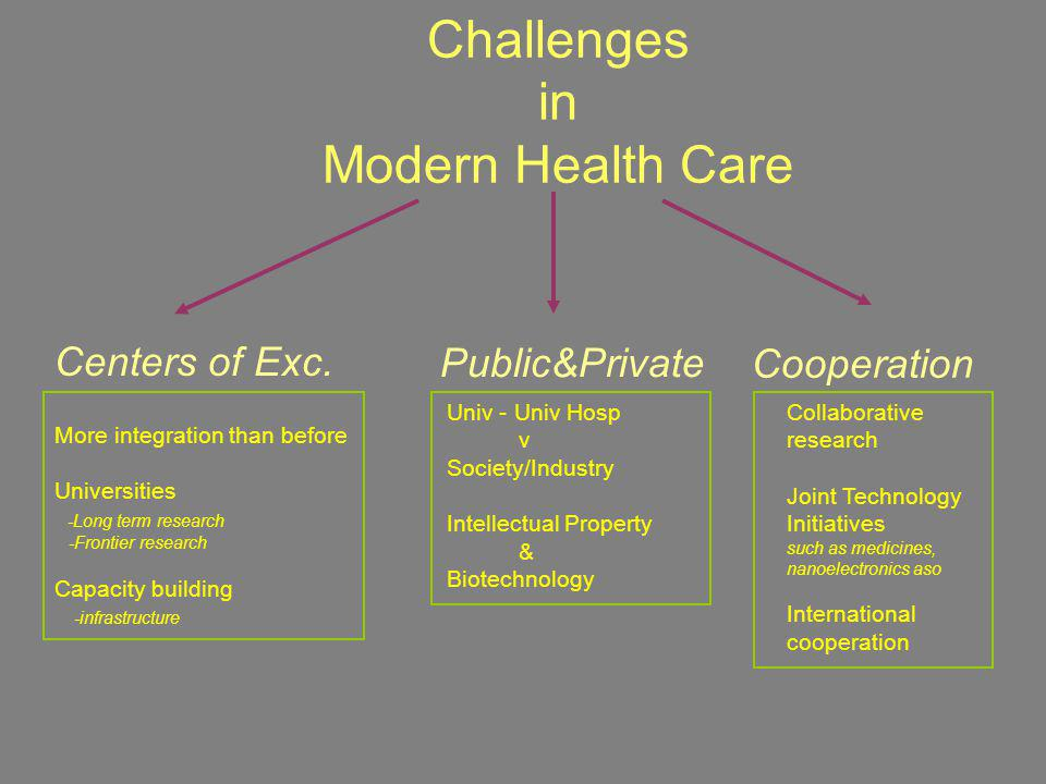 Challenges in Modern Health Care More integration than before Universities -Long term research -Frontier research Capacity building -infrastructure Un