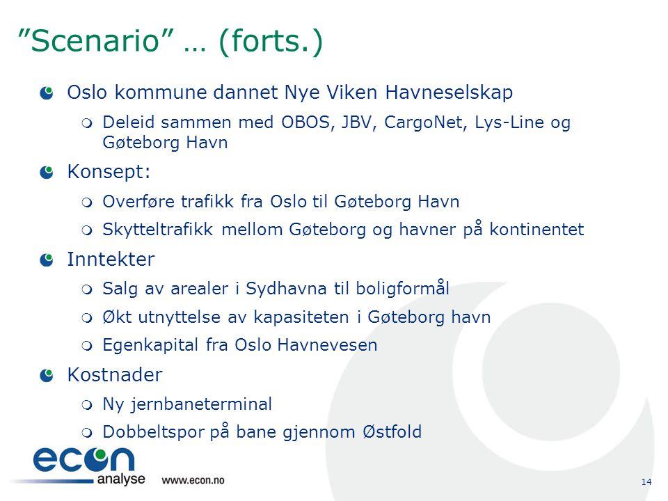 """14 """"Scenario"""" … (forts.) Oslo kommune dannet Nye Viken Havneselskap  Deleid sammen med OBOS, JBV, CargoNet, Lys-Line og Gøteborg Havn Konsept:  Over"""