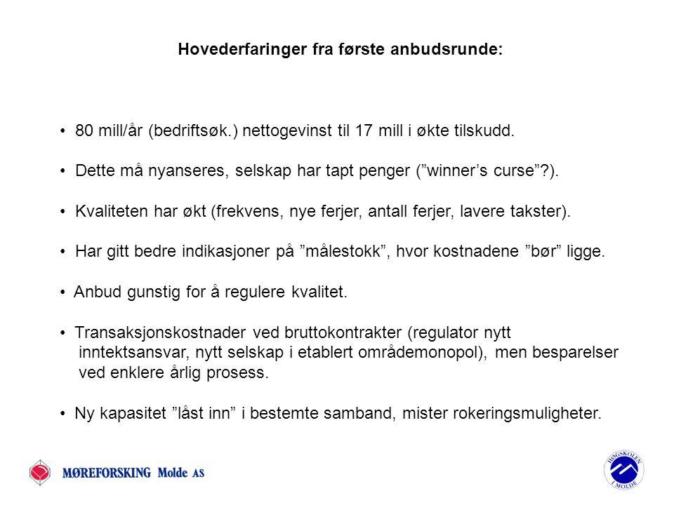 Neste runde: Formelle skritt er tatt for å konkurranseutsette flere samband, bl.a: Øksfjord - Hasvik (Troms) Nesna - Levang (Nordland) Brattvåg – Dryna - Nordøyane (Møre og Romsdal) Volda - Folkestad (Møre og Romsdal) Mannheller - Fodnes (Sogn og Fjordane) Flakk-Rørvik (Sør-Trøndelag) Brekstad-Valset (Nord-Trøndelag) Deretter: De resterende ca 100 samband ut på anbud innen 7-10 år.