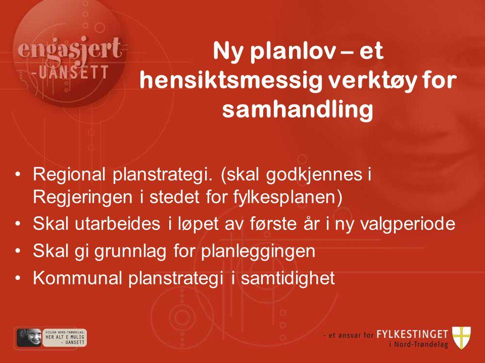 Ny planlov – et hensiktsmessig verktøy for samhandling Regional planstrategi.