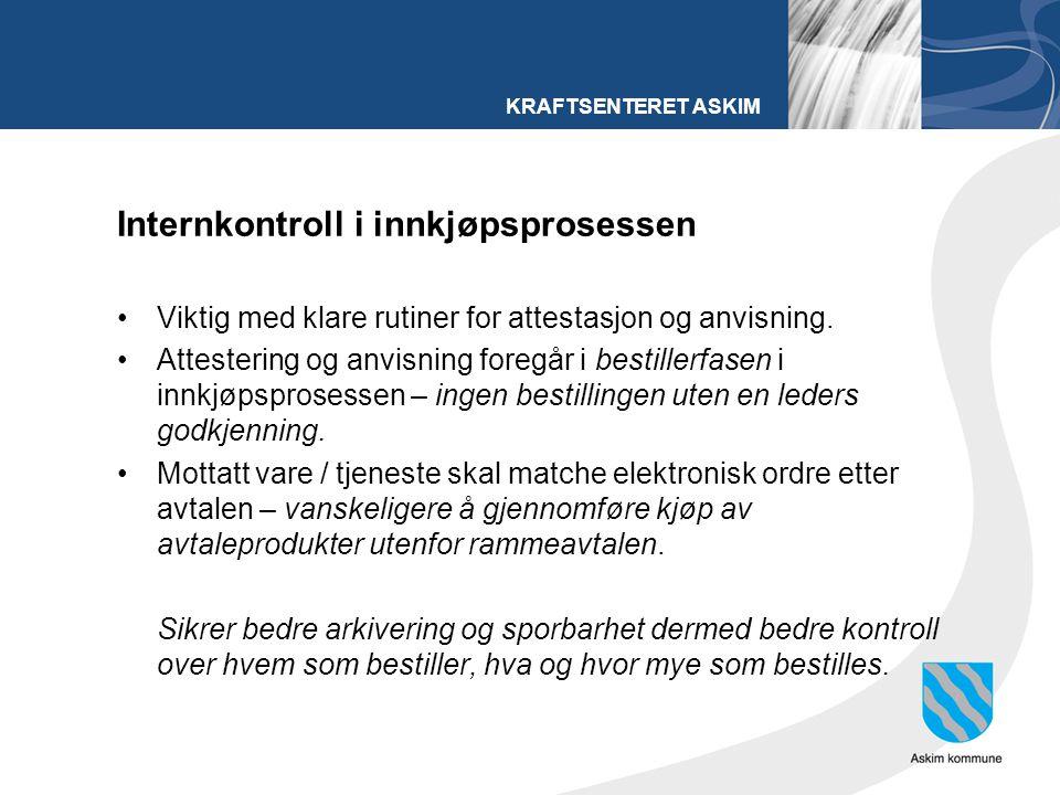 KRAFTSENTERET ASKIM Internkontroll i innkjøpsprosessen Viktig med klare rutiner for attestasjon og anvisning. Attestering og anvisning foregår i besti