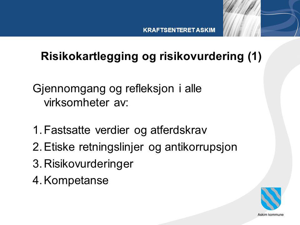 KRAFTSENTERET ASKIM Risikokartlegging og risikovurdering (1) Gjennomgang og refleksjon i alle virksomheter av: 1.Fastsatte verdier og atferdskrav 2.Etiske retningslinjer og antikorrupsjon 3.Risikovurderinger 4.Kompetanse