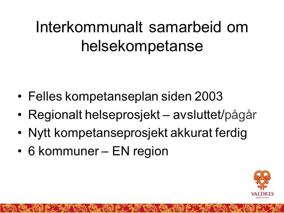 Interkommunalt samarbeid om helsekompetanse Felles kompetanseplan siden 2003 Regionalt helseprosjekt – avsluttet/pågår Nytt kompetanseprosjekt akkurat ferdig 6 kommuner – EN region