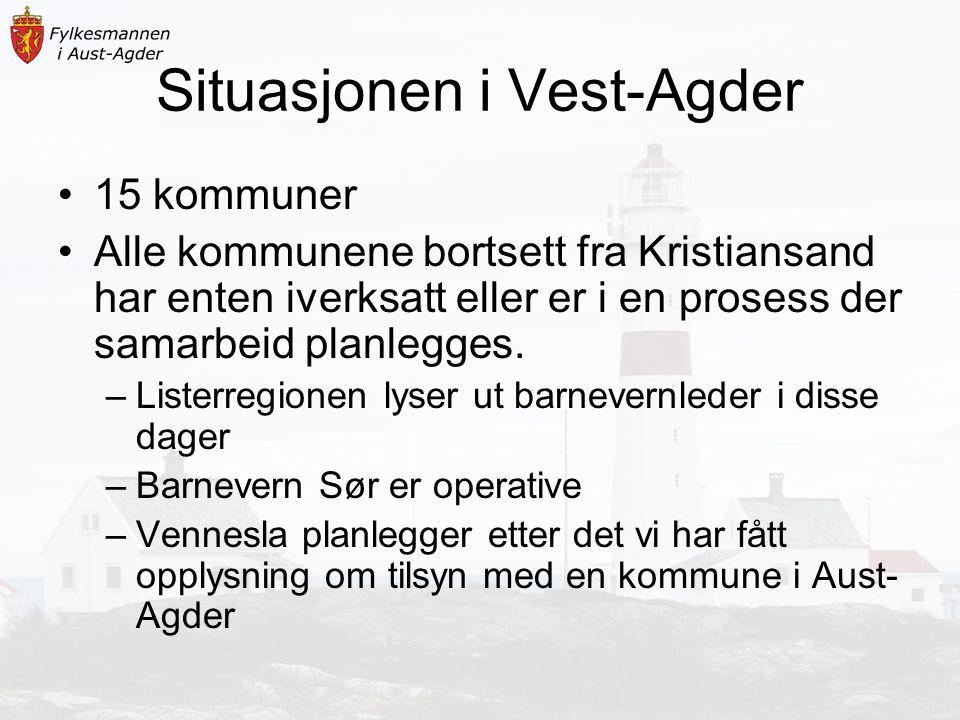 Situasjonen i Vest-Agder 15 kommuner Alle kommunene bortsett fra Kristiansand har enten iverksatt eller er i en prosess der samarbeid planlegges.