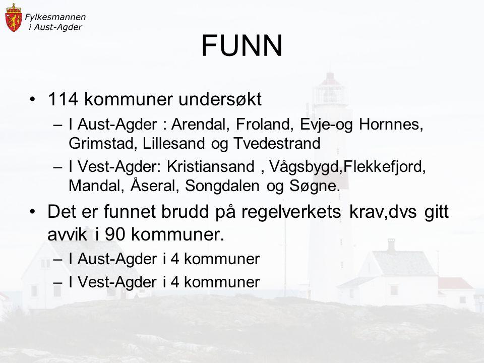 FUNN 114 kommuner undersøkt –I Aust-Agder : Arendal, Froland, Evje-og Hornnes, Grimstad, Lillesand og Tvedestrand –I Vest-Agder: Kristiansand, Vågsbygd,Flekkefjord, Mandal, Åseral, Songdalen og Søgne.