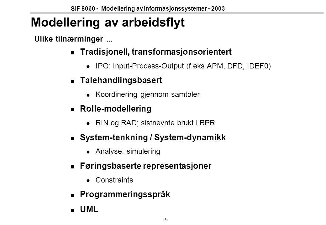 13 SIF 8060 - Modellering av informasjonssystemer - 2003 Modellering av arbeidsflyt Ulike tilnærminger... Tradisjonell, transformasjonsorientert IPO: