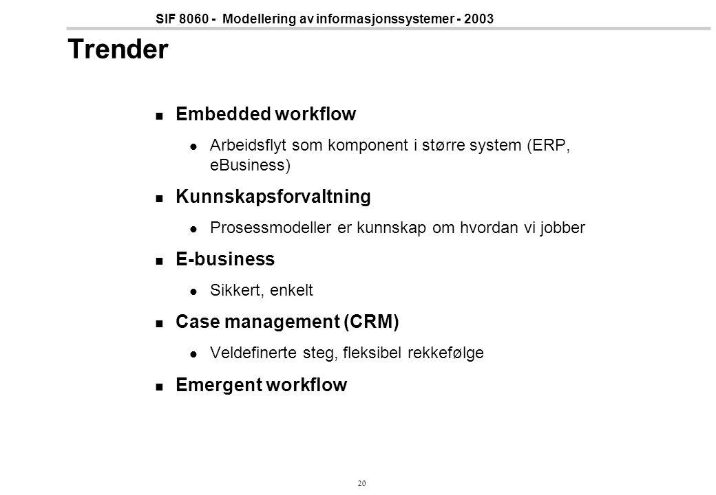 20 SIF 8060 - Modellering av informasjonssystemer - 2003 Trender Embedded workflow Arbeidsflyt som komponent i større system (ERP, eBusiness) Kunnskap
