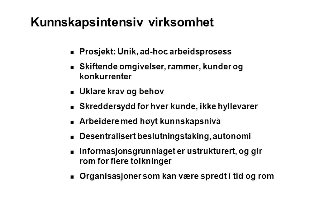 Kunnskapsintensiv virksomhet Prosjekt: Unik, ad-hoc arbeidsprosess Skiftende omgivelser, rammer, kunder og konkurrenter Uklare krav og behov Skredders